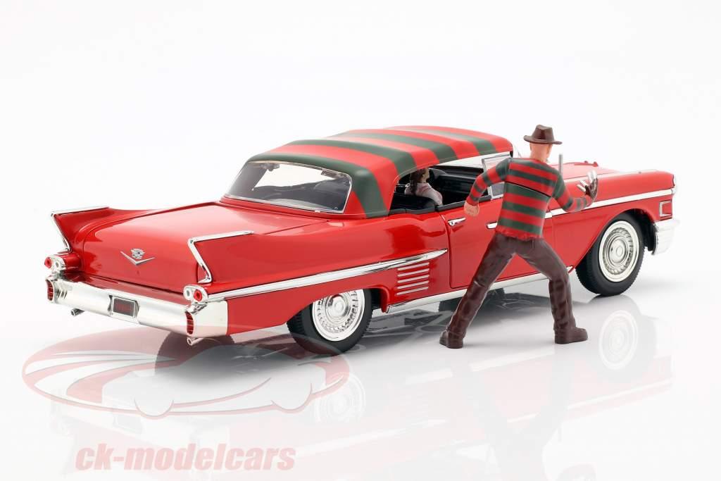 Cadillac Series 62 Baujahr 1958 mit Freddy Krueger Figur rot 1:24 Jada Toys