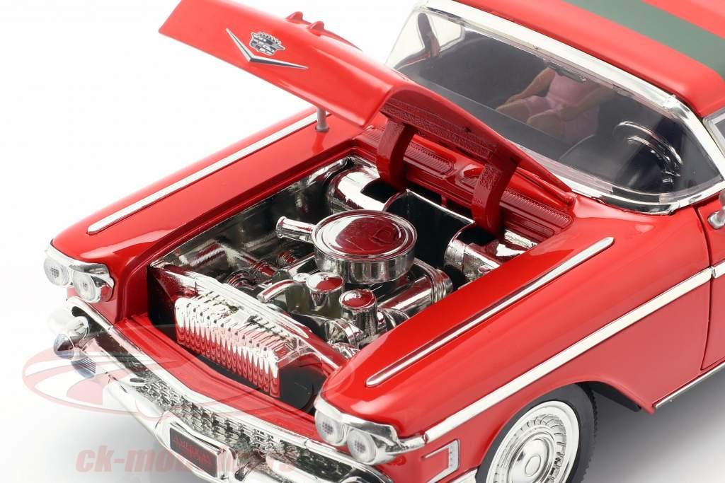 Cadillac Series 62 año de construcción 1958 con Freddy Krueger figura rojo 1:24 Jada Toys