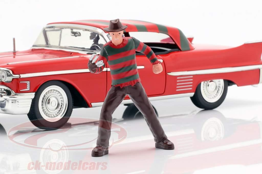 Cadillac Series 62 ano de construção 1958 com Freddy Krueger figura vermelho 1:24 Jada Toys