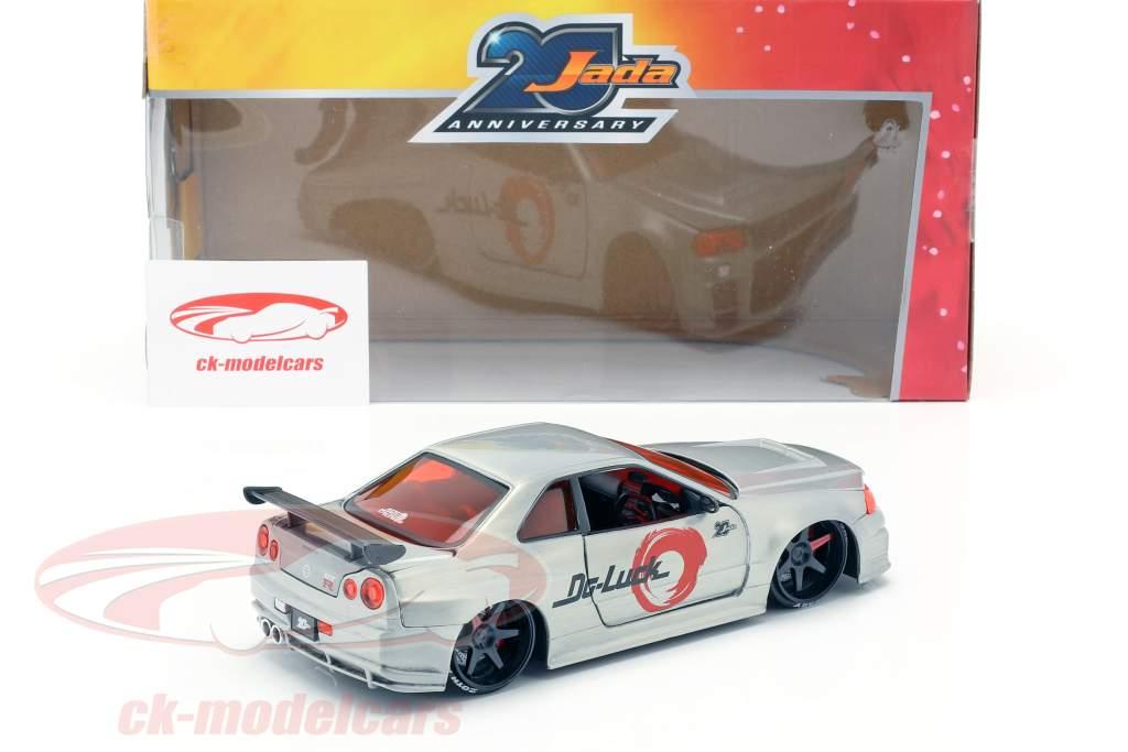 Nissan Skyline GT-R (BNR34) Opførselsår 2002 sølv 1:24 Jada Toys