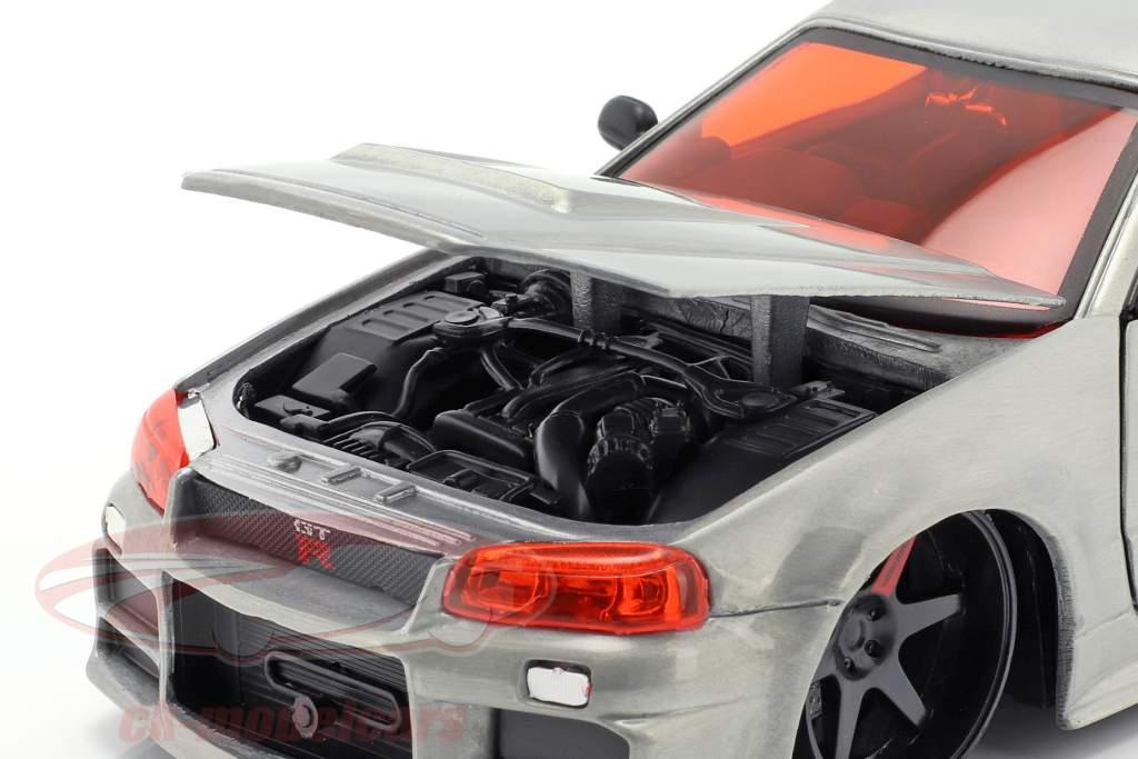 Nissan Skyline GT-R (BNR34) Bouwjaar 2002 zilver 1:24 Jada Toys