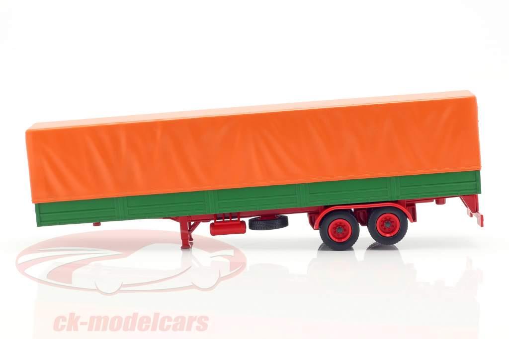 semirremolques de plataforma con cubierta verde / naranja 1:43 IXO