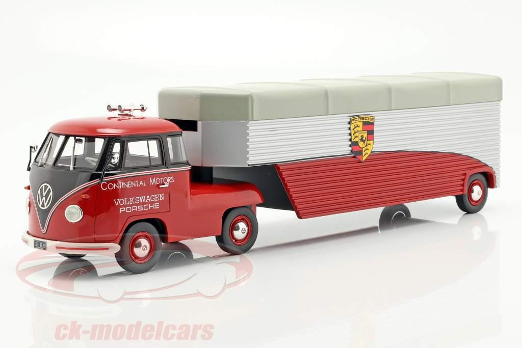 Volkswagen VW T1b Porsche gara camion Continental Motors rosso 1:18 Schuco