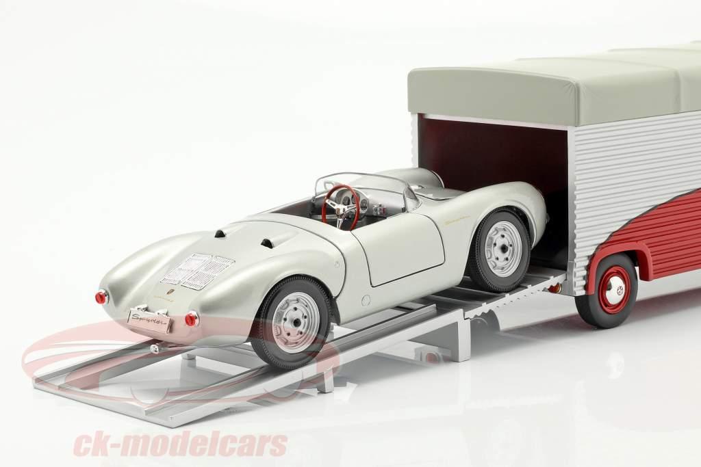 Volkswagen VW T1b Porsche race vrachtwagen Continental Motors rood 1:18 Schuco