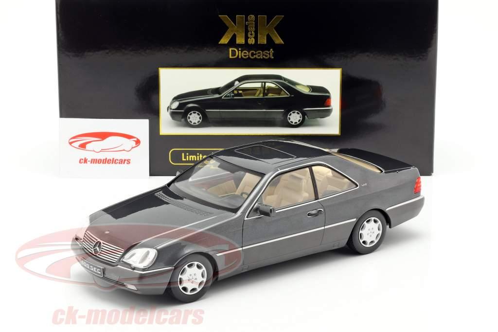 Mercedes-Benz 600 SEC (C140) Bouwjaar 1992 antraciet 1:18 KK-Scale
