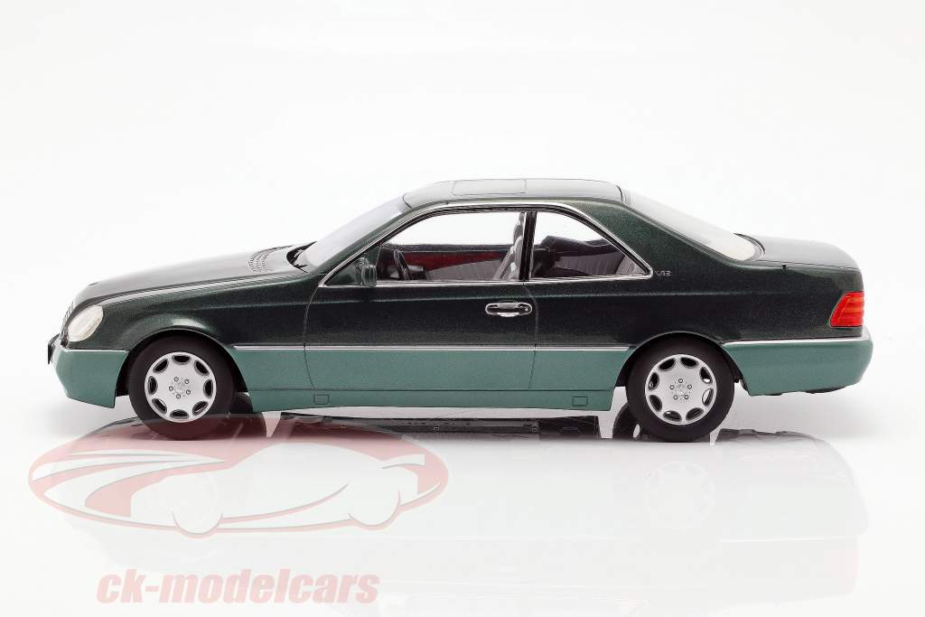 Mercedes-Benz 600 SEC (C140) Bouwjaar 1992 groen metalen 1:18 KK-Scale