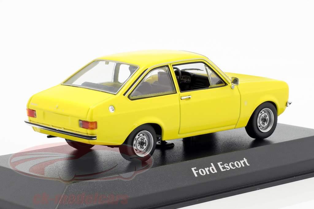 Ford Escort année de construction 1975 jaune 1:43 Minichamps