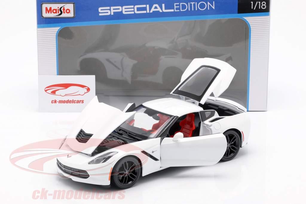 Corvette Stingray Z51 Jaar 2014 wit 1:18 Maisto
