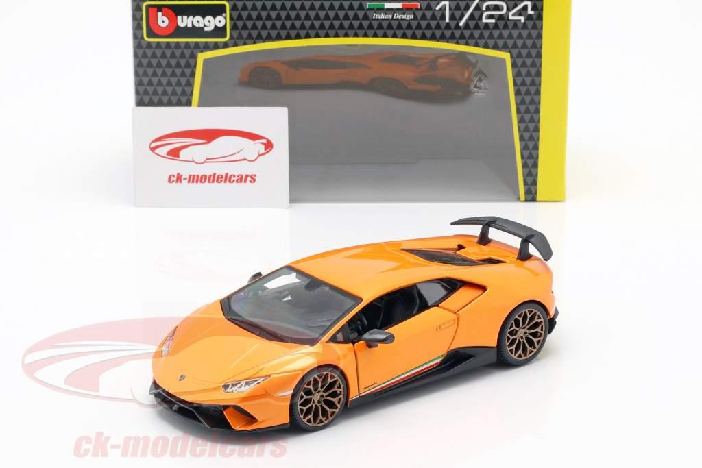 Lamborghini Huracan Performante ano de construção 2017 laranja metálico 1:24 Bburago