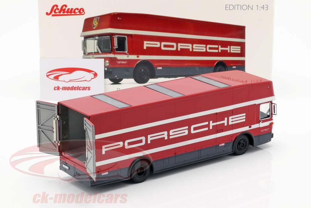 Mercedes-Benz O 317 Renntransporter Porsche Motorsport rot 1:43 Schuco