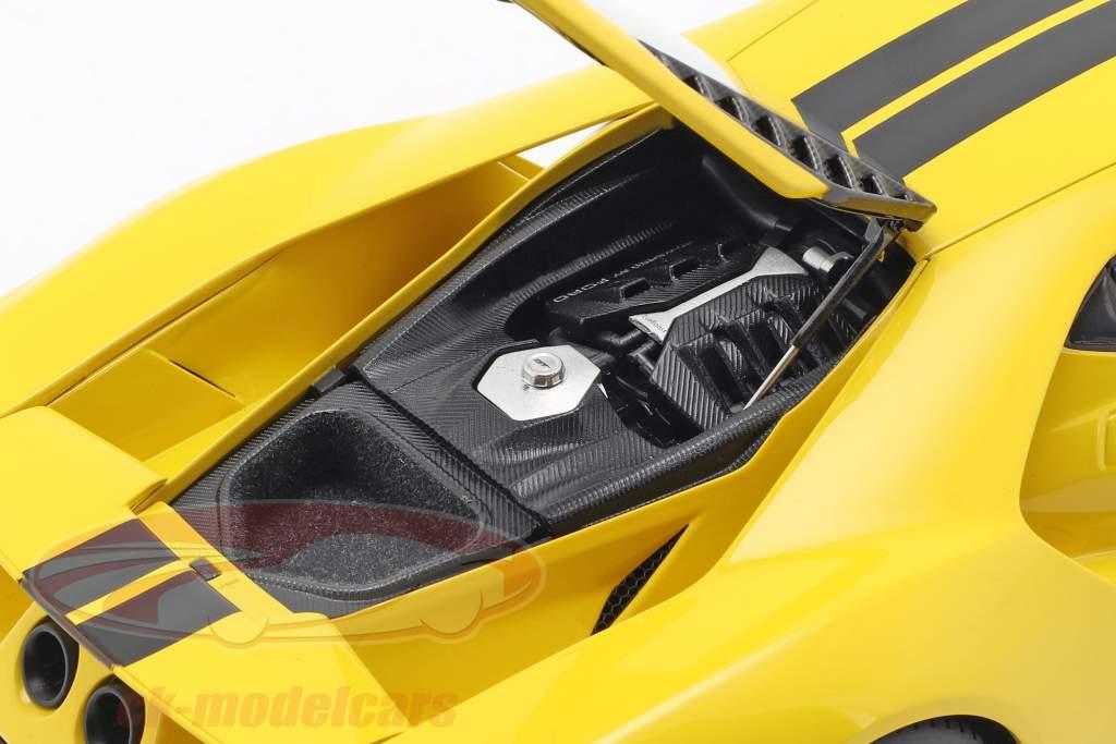Ford GT ano de construção 2017 triple amarelo com preto listras 1:18 AUTOart