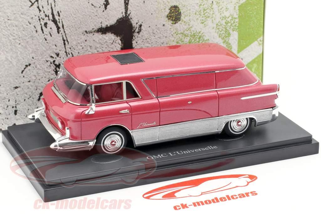 GMC L'Universelle transporter Bouwjaar 1955 rood metalen / zilver 1:43 AutoCult