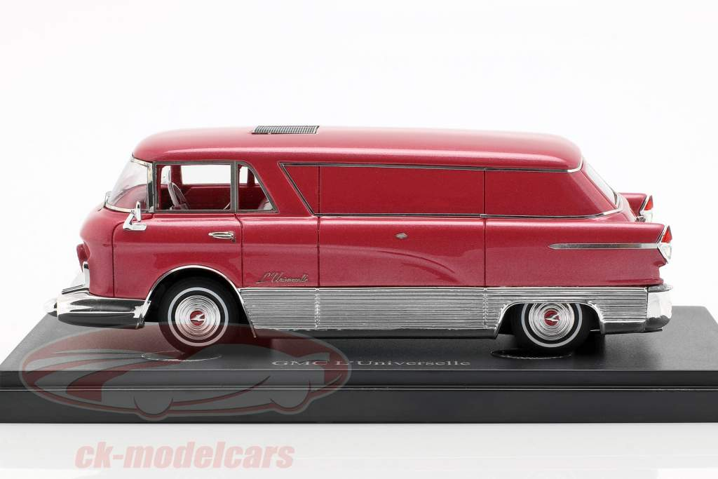 GMC L'Universelle transporter year 1955 red metallic / silver 1:43 AutoCult
