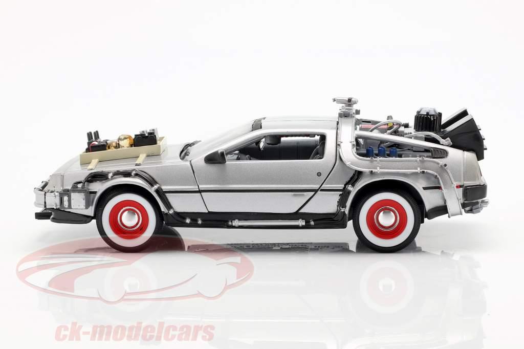 3 Bil Set DeLorean DMC-12 Back to the Future Part 1-3 1985-90 1:24 Welly