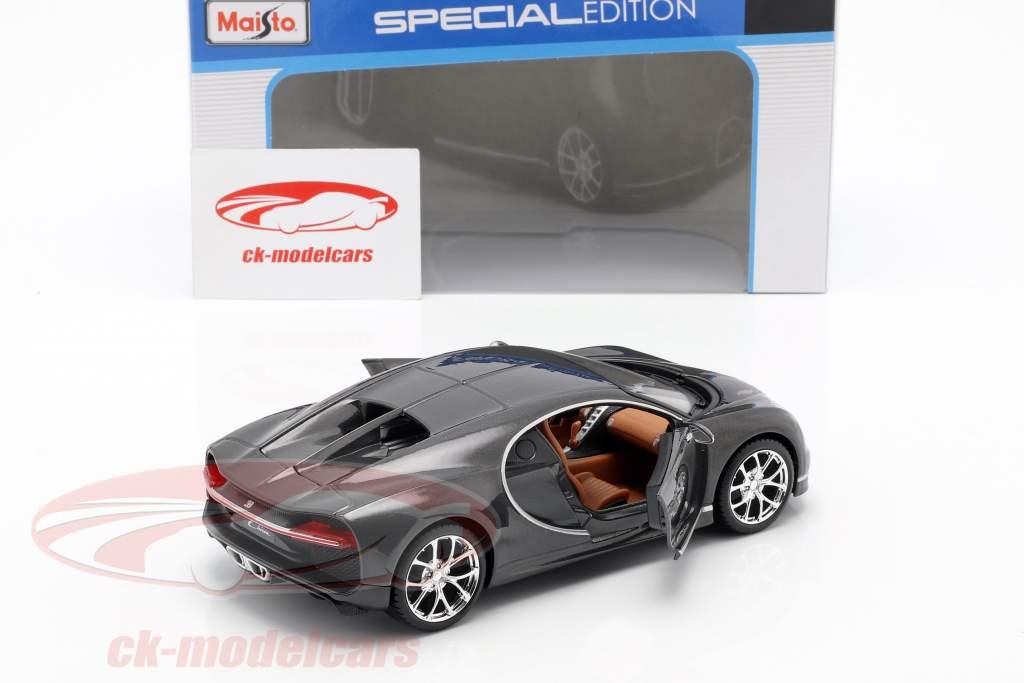 Bugatti Chiron ano de construção 2016 cinza metálico 1:24 Maisto
