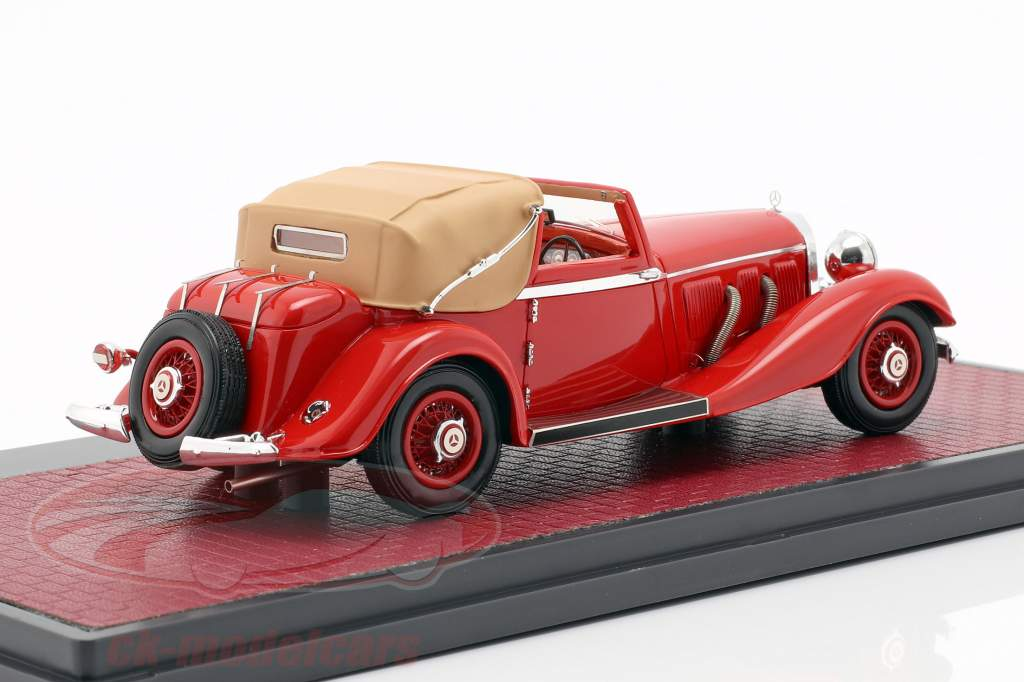 Mercedes-Benz 500K DHC Corsica Open Top Bouwjaar 1935 rood 1:43 Matrix