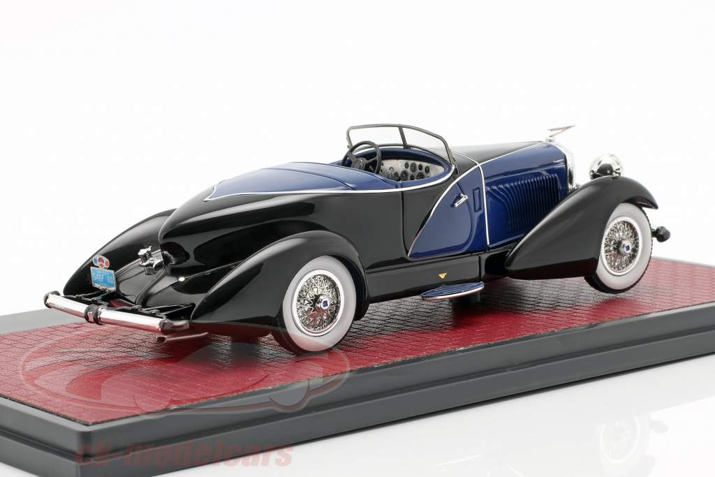 Duesenberg J SWB French True Speedster by Figoni 1931 preto / azul 1:43 Matrix