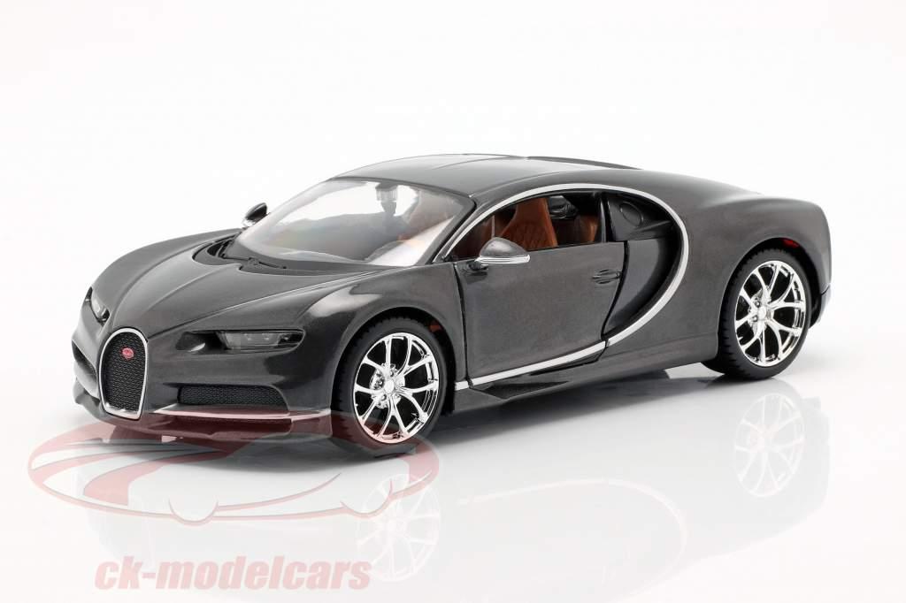 Bugatti Chiron año de construcción 2016 gris metálico 1:24 Maisto