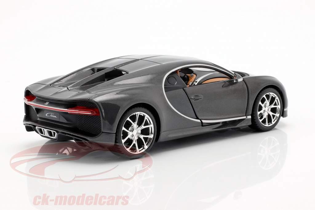 Bugatti Chiron Opførselsår 2016 grå metallisk 1:24 Maisto