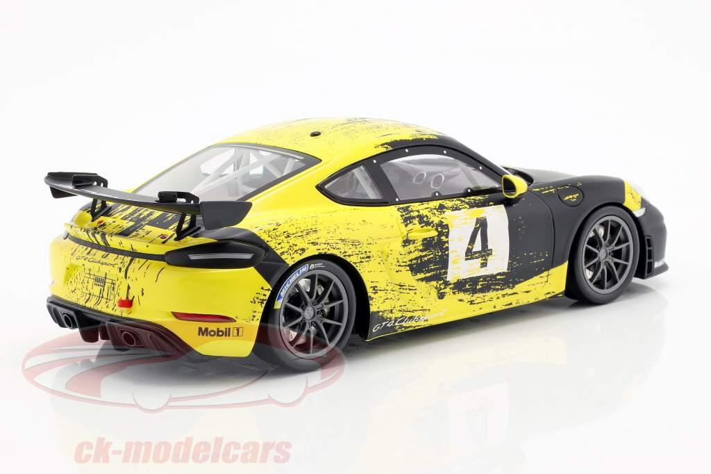 Porsche 718 Cayman GT4 Clubsport 2019 jaune / noir avec vitrine 1:18 Minichamps