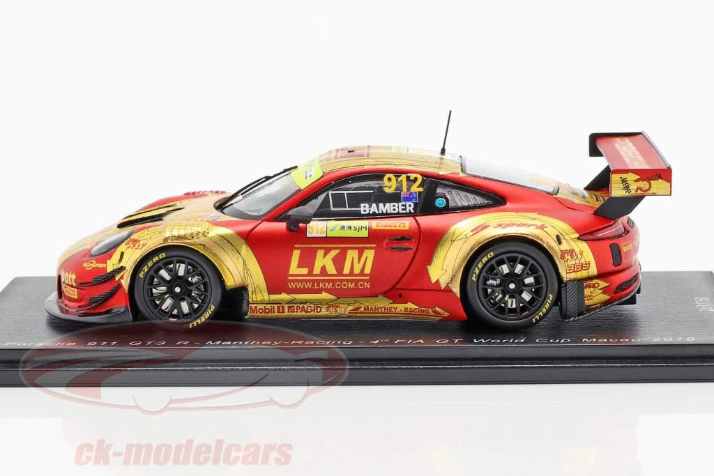 Porsche 911 GT3 R #912 FIA GT World Cup Macau 2018 Earl Bamber 1:43 Spark