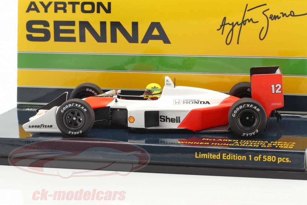 A. Senna McLaren MP4/4 #12 ganador Hungría GP campeón del mundo F1 1988 1:43 Minichamps