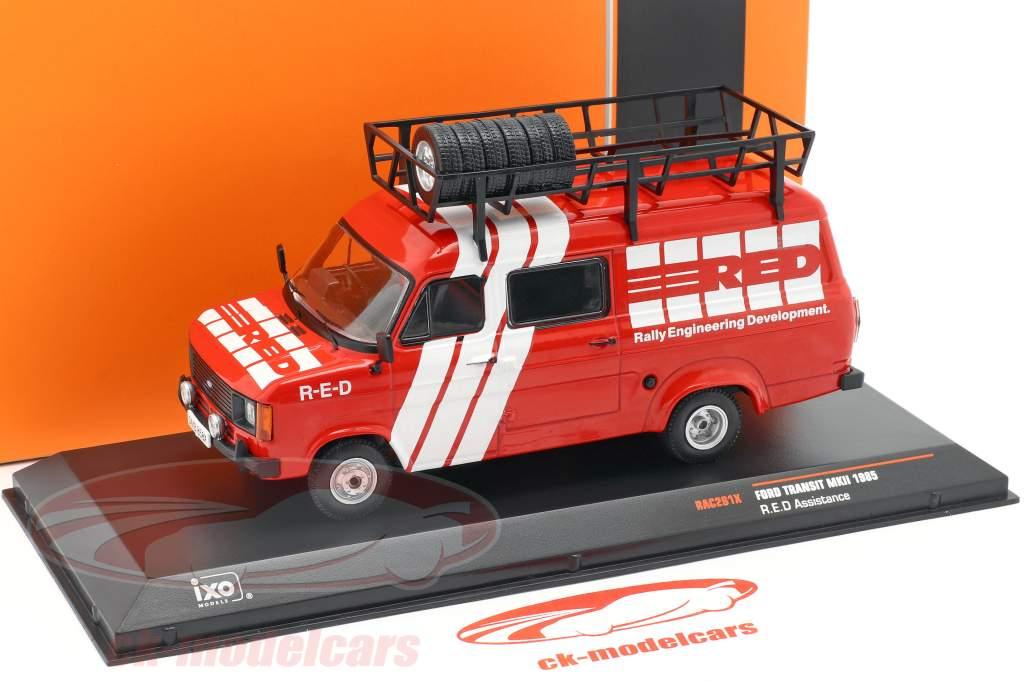 Ford Transit MK II Baujahr Rallye Assistance R.E.D. 1985 rot / weiß 1:43 Ixo