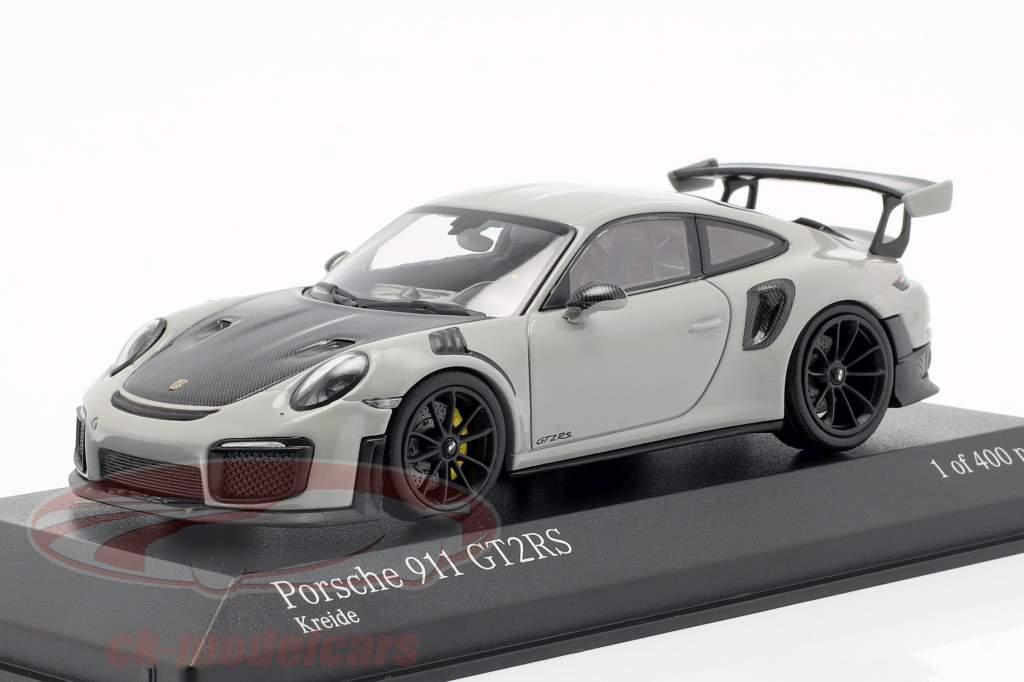 Porsche 911 (991 II) GT2 RS Opførselsår 2018 kridt grå / sort 1:43 Minichamps