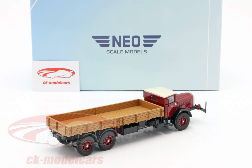 Mercedes-Benz L 10000 platform truck Bouwjaar 1937 donker rood / beige 1:43 Neo