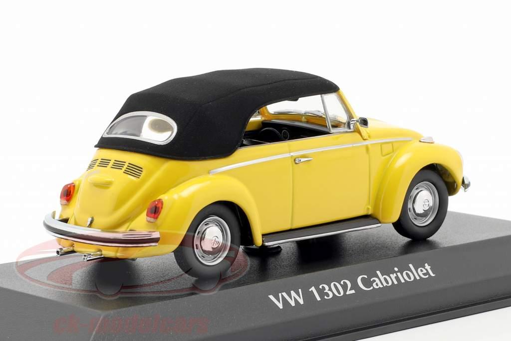 Volkswagen VW 1302 cabriolet année de construction 1970 jaune 1:43 Minichamps