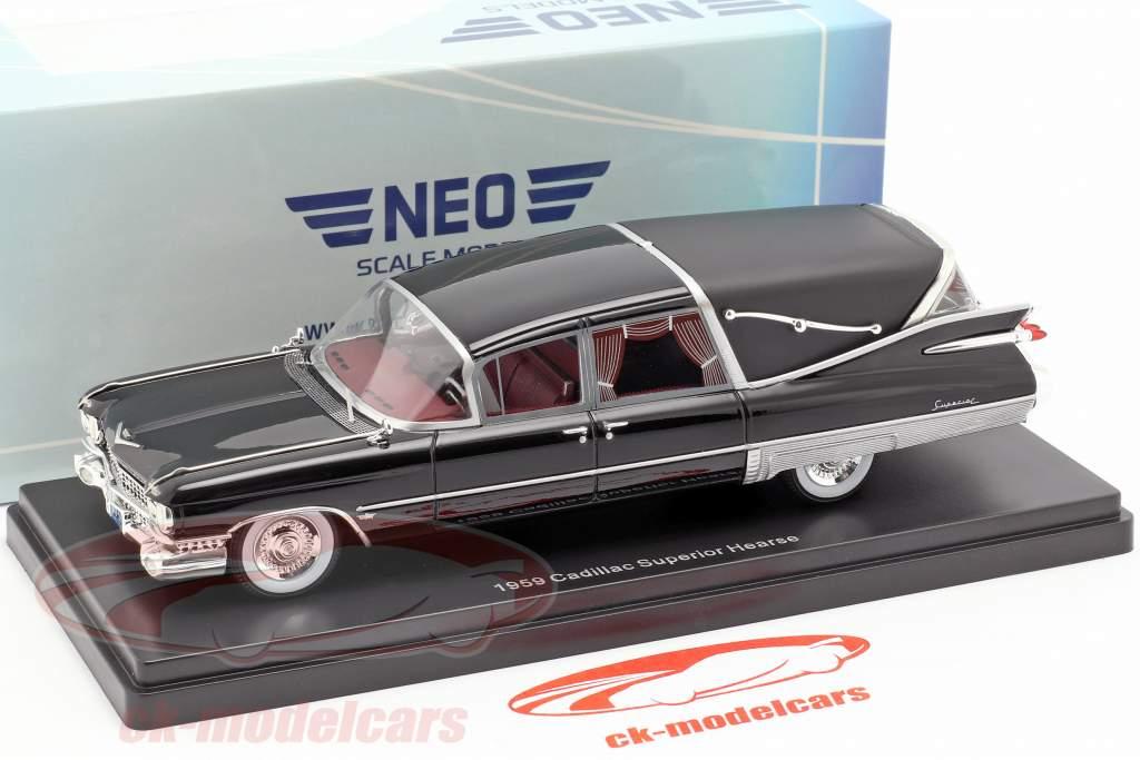 Cadillac Superior Crown Royale Landau carro funebre 1959 nero 1:43 Neo