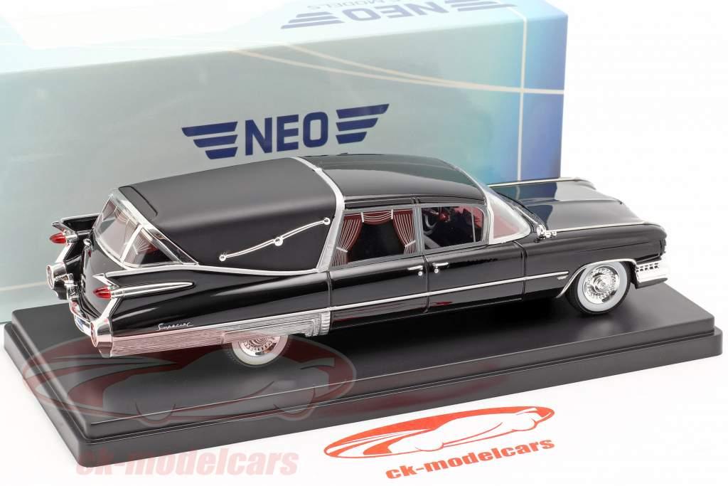 Cadillac Superior Crown Royale Landau carro fúnebre 1959 preto 1:43 Neo