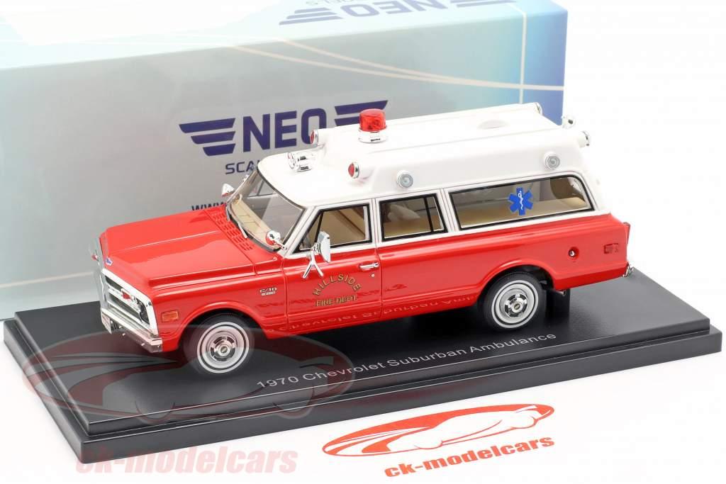 Chevrolet Suburban ambulance Opførselsår 1970 rød / hvid 1:43 Neo