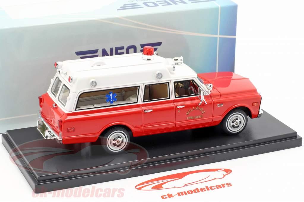 Chevrolet Suburban Ambulance Baujahr 1970 rot / weiß 1:43 Neo