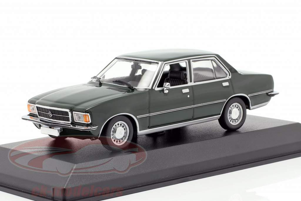 Opel Rekord D year 1975 dark green 1:43 Minichamps