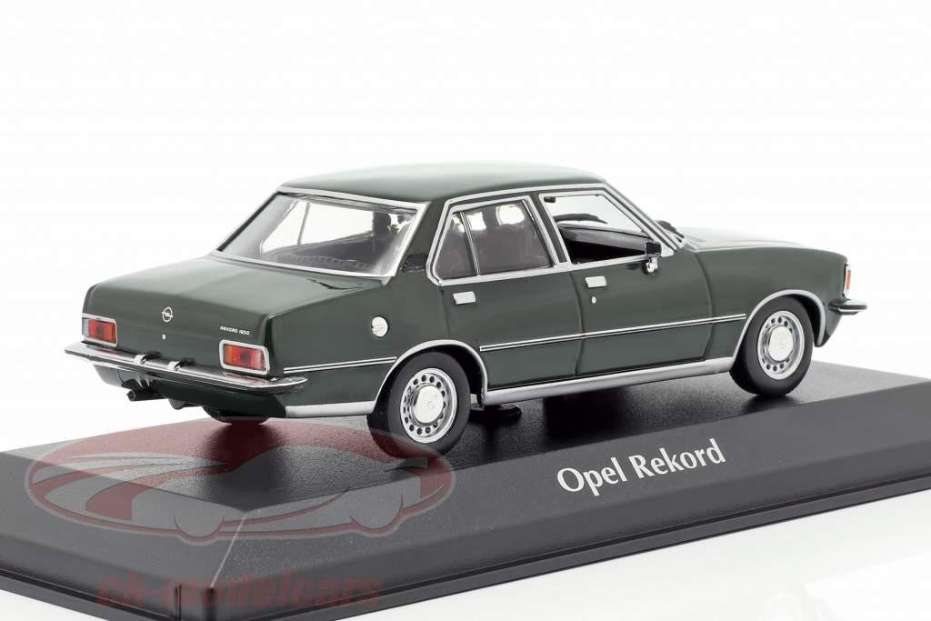 Opel Rekord D ano de construção 1975 escuro verde 1:43 Minichamps