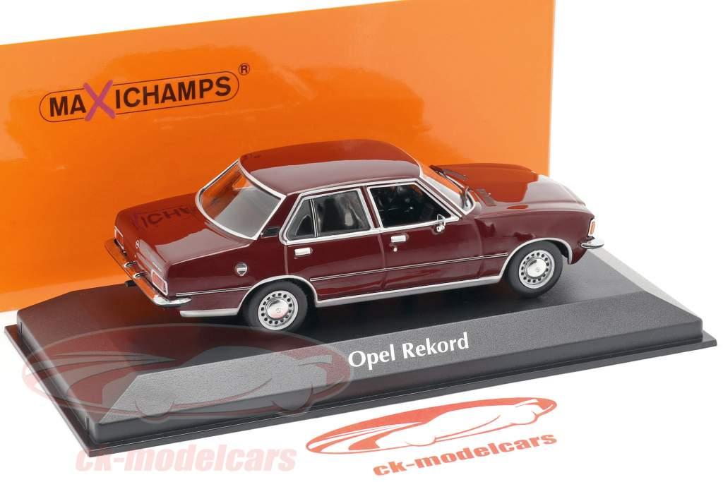 Opel Rekord D ano de construção 1975 escuro vermelho 1:43 Minichamps