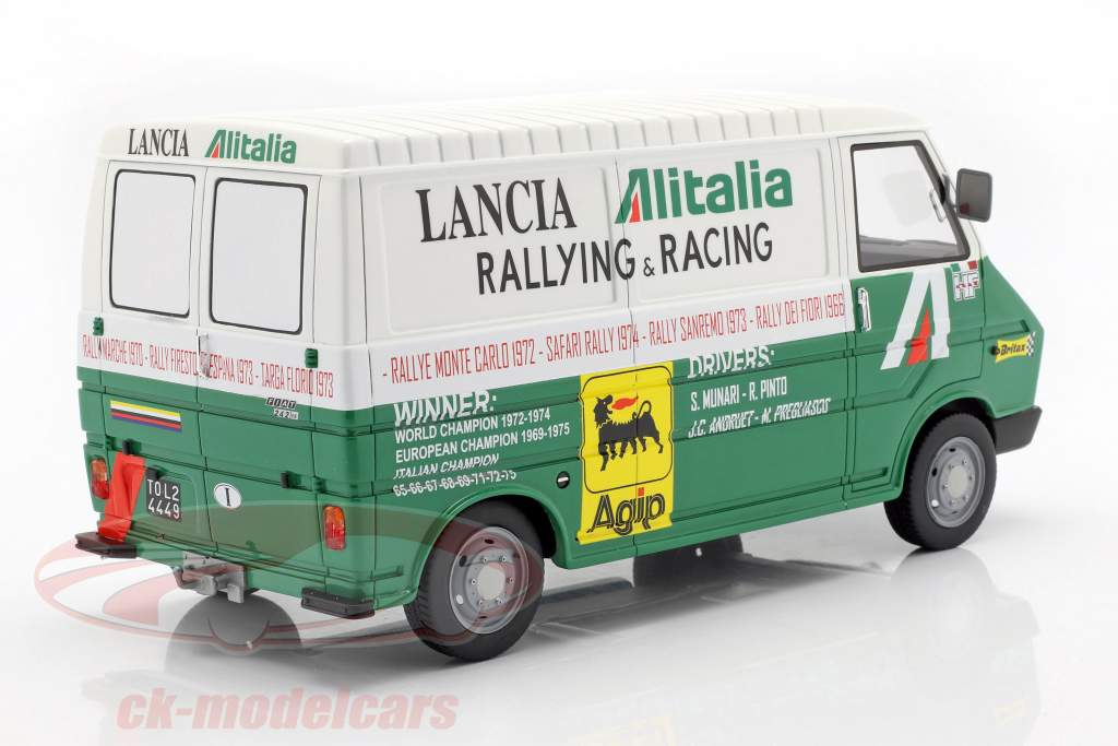 Fiat 242 furgone rally Assistance Lancia Team 1974 verde / bianco 1:18 Laudoracing Models