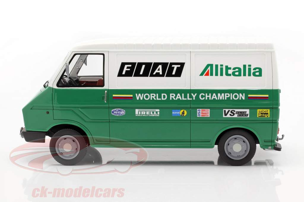 Fiat 242 van Rallye Assistance Lancia Team 1977 grøn / hvid 1:18 Laudoracing Models