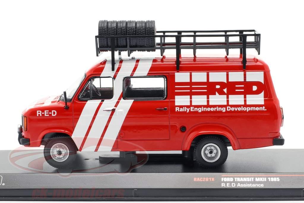 Ford Transit MK II Bouwjaar Rallye Assistance R.E.D. 1985 rood / wit 1:43 Ixo