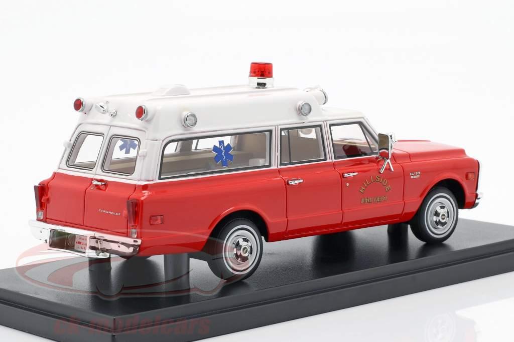 Chevrolet Suburban ziekenwagen Bouwjaar 1970 rood / wit 1:43 Neo