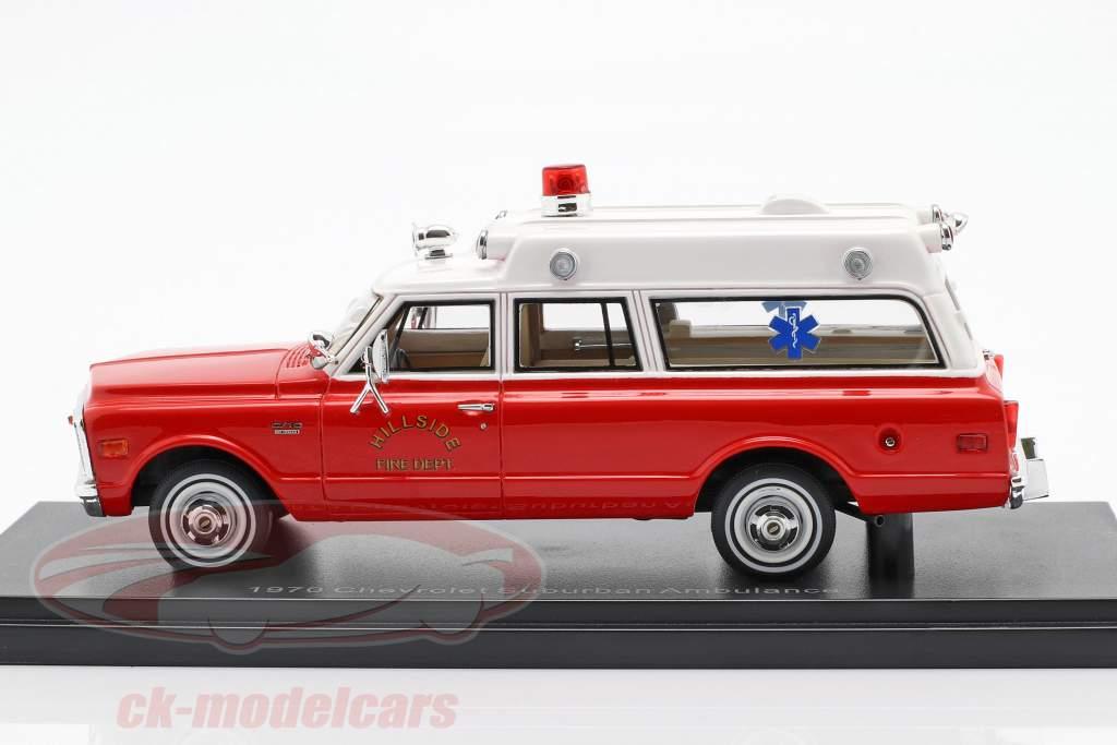 Chevrolet Suburban ambulance année de construction 1970 rouge / blanc 1:43 Neo