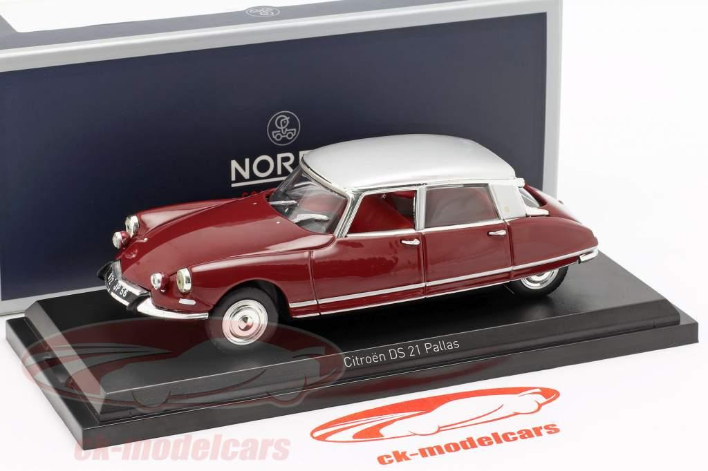 Citroen DS21 Pallas año de construcción 1967 oscuro rojo / plata 1:43 Norev