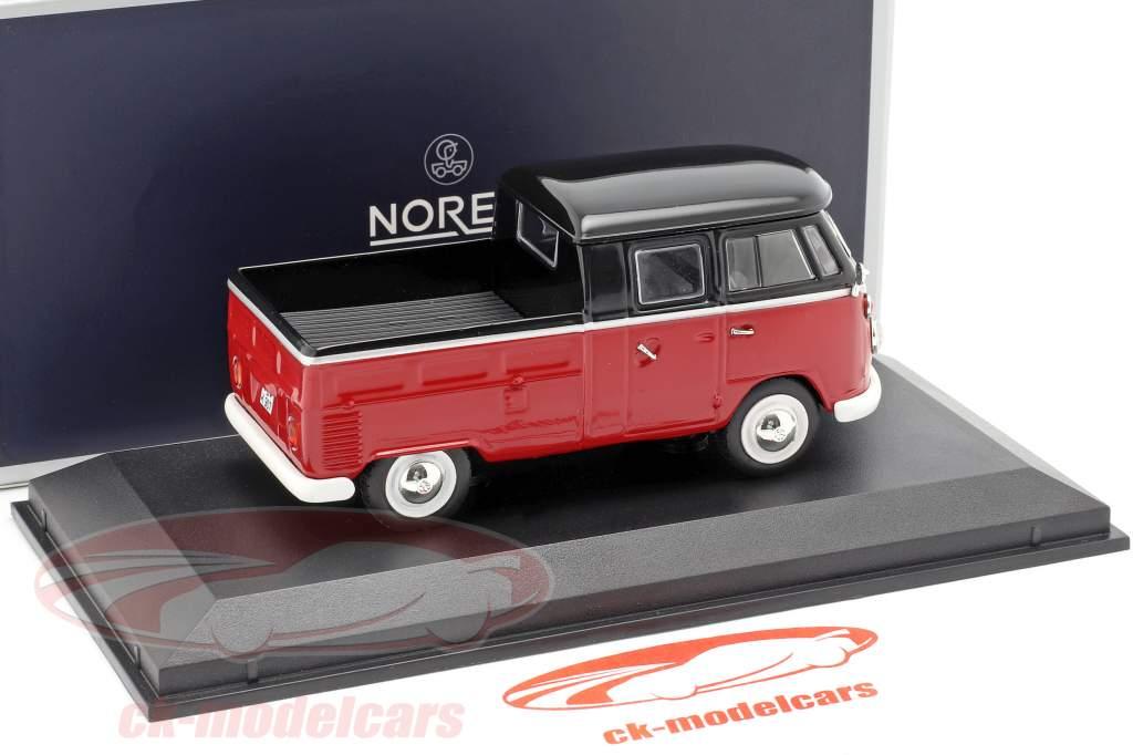Volkswagen VW T1 dobbelt kabine Opførselsår 1961 rød / sort 1:43 Norev