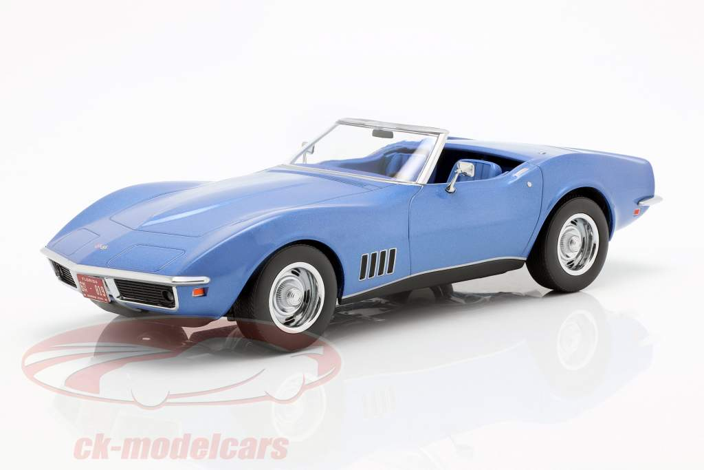 Chevrolet Corvette converteerbaar Bouwjaar 1969 blauw metalen 1:18 Norev