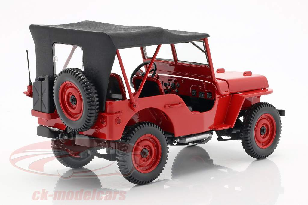 Jeep Willys year 1942 red 1:18 Norev