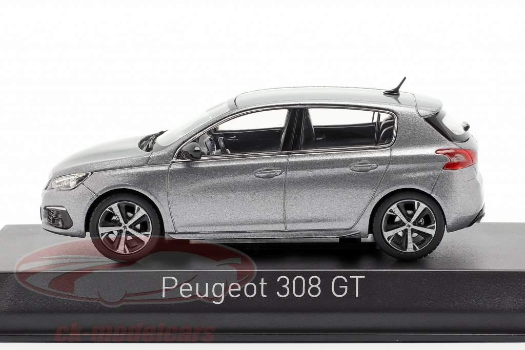 Peugeot 308 GT Bouwjaar 2017 artense grijs 1:43 Norev