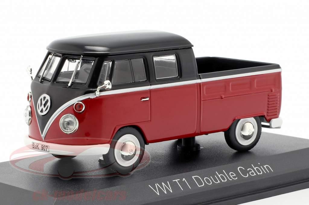 Volkswagen VW T1 cabine dupla ano de construção 1961 vermelho / preto 1:43 Norev