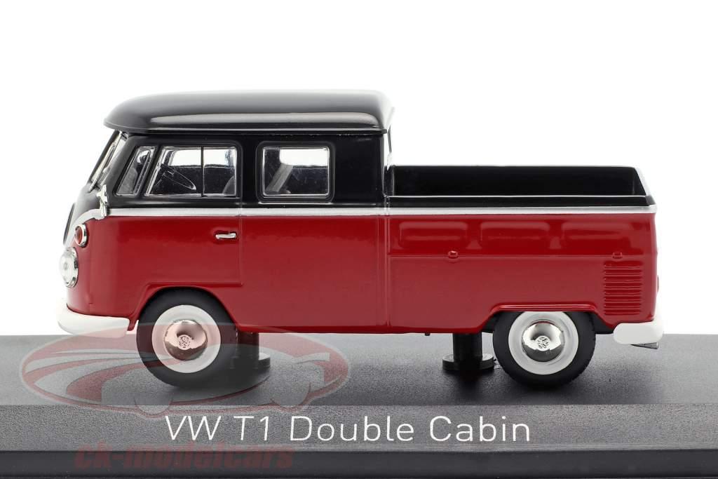 Volkswagen VW T1 cabina doppia anno di costruzione 1961 rosso / nero 1:43 Norev