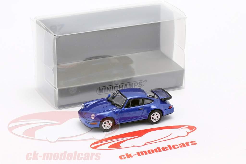 Porsche 911 Turbo (964) año de construcción 1990 azul metálico 1:87 Minichamps